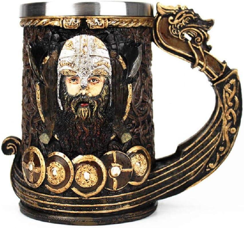 Taza De Jarra Vikinga 304 Inserto De Acero Inoxidable Resina Dios Nórdico Odin Café Cerveza Tazas Taza Regalo De Cumpleaños De Halloween 600Ml