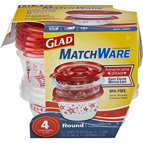 Glad Food Storage Containers - Glad MatchWare Round Containers - Two 16 Ounce - Two 32 Ounce - 16 Ounce Clip