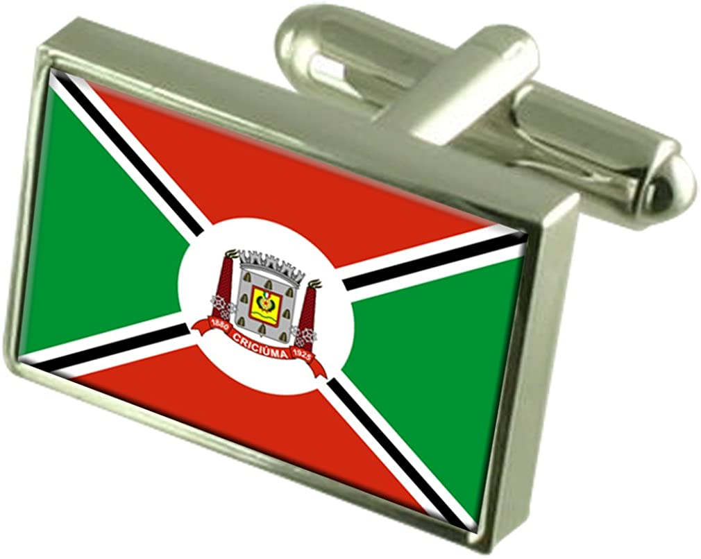 Select Gifts Criciuma City Santa Catarina State Flag Cufflinks Engraved Box
