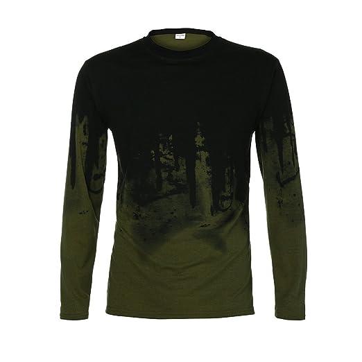 bd866a59 Mens Hipster Hip Hop Graffiti Print Slim Fit Long Sleeve Crew Neck T-Shirt  Shirts Casual Tops Tee