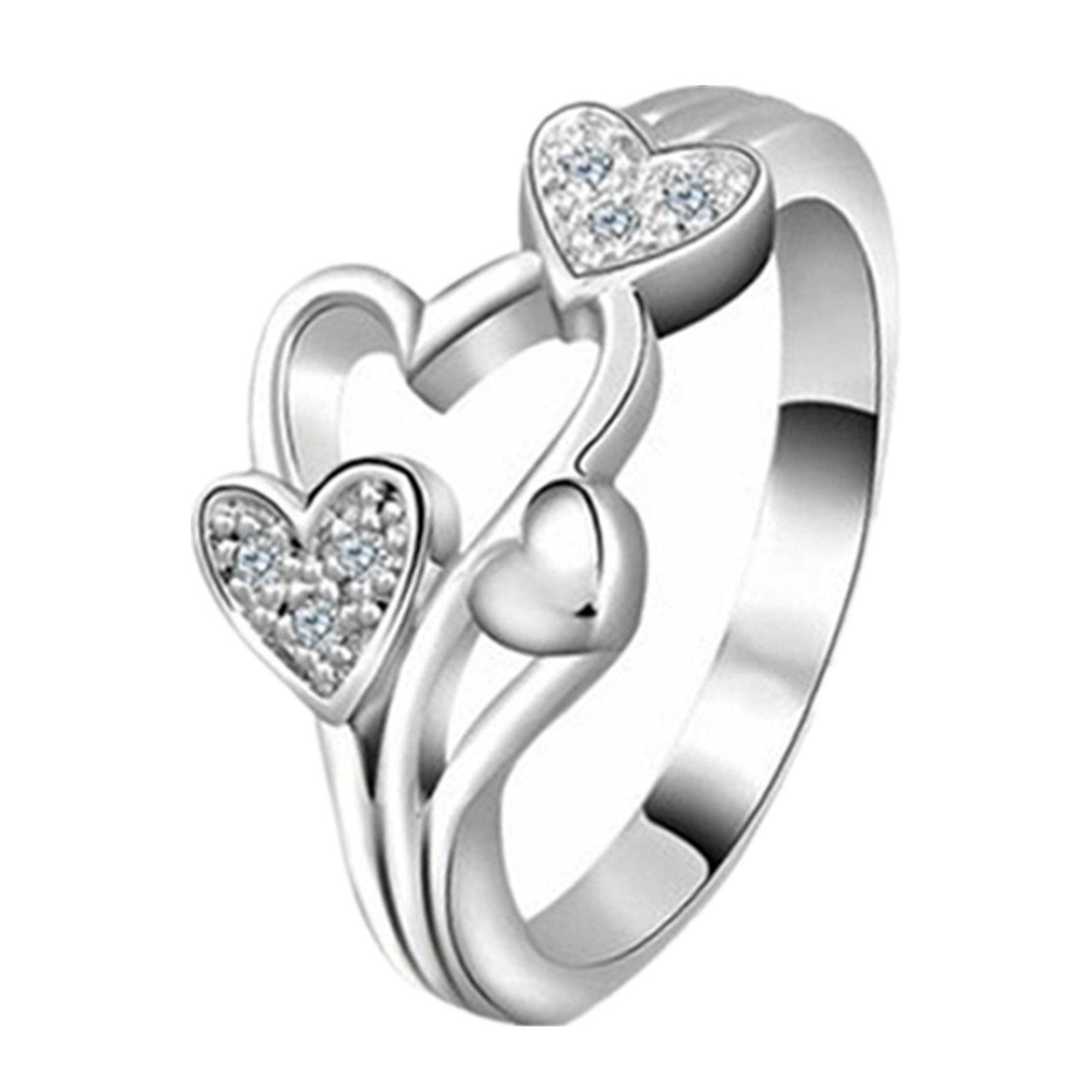 Alonea Heart Ring, Women Creative Fashion Heart Love Girls Promise Ring Exquisite Princess Rings (Silver)