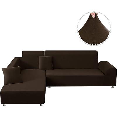 TAOCOCO Funda para sofá Funda para sofá en Forma de L Funda elástica elástica 2 Juegos para 3 Asientos + 3 Asientos, con Funda de cojín de 2 Piezas (Marrón)