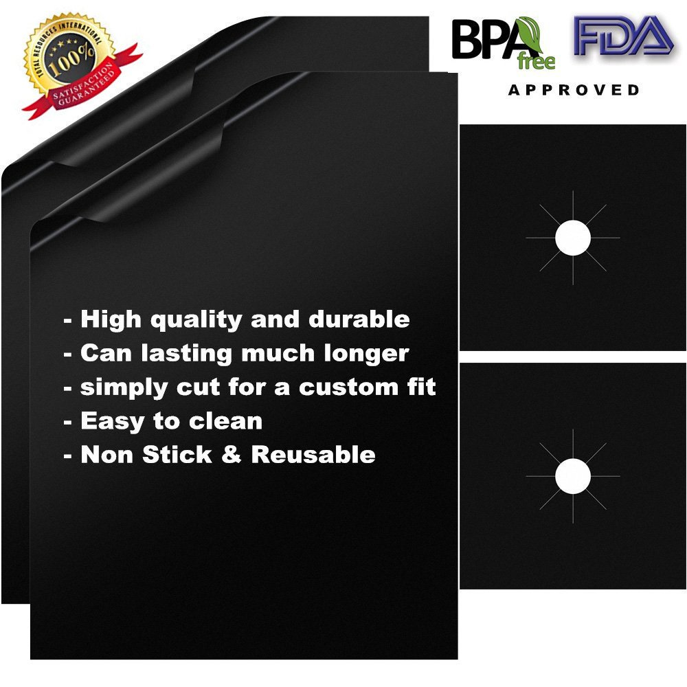 4 Pack Reusable Gas Range Protectors - Thick, Heat Resistant Fiberglass Mat with Adjustable Size - Safest On The Market | Non-Stick & Easy to Clean - Kitchen Friendly Cooking Accessory R5 by MAZU (Image #4)