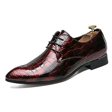 51ba8742f77c Amazon.com: Hilotu Men's Black Dress Shoes Pointed Toe Patent ...