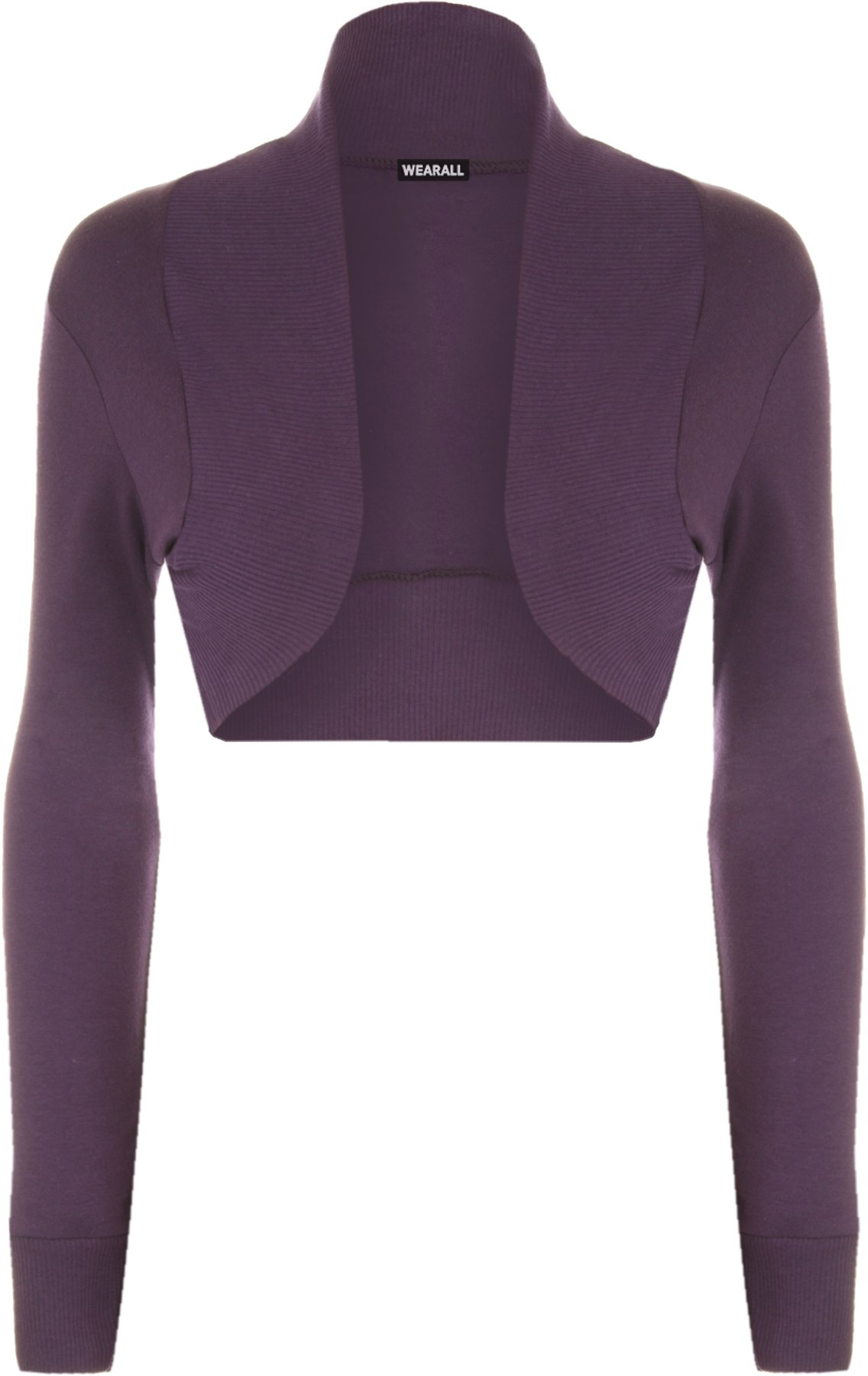 WearAll Women's Long Sleeve Shrug Ladies Bolero Top - Purple - US 16-18 (UK 20-22)