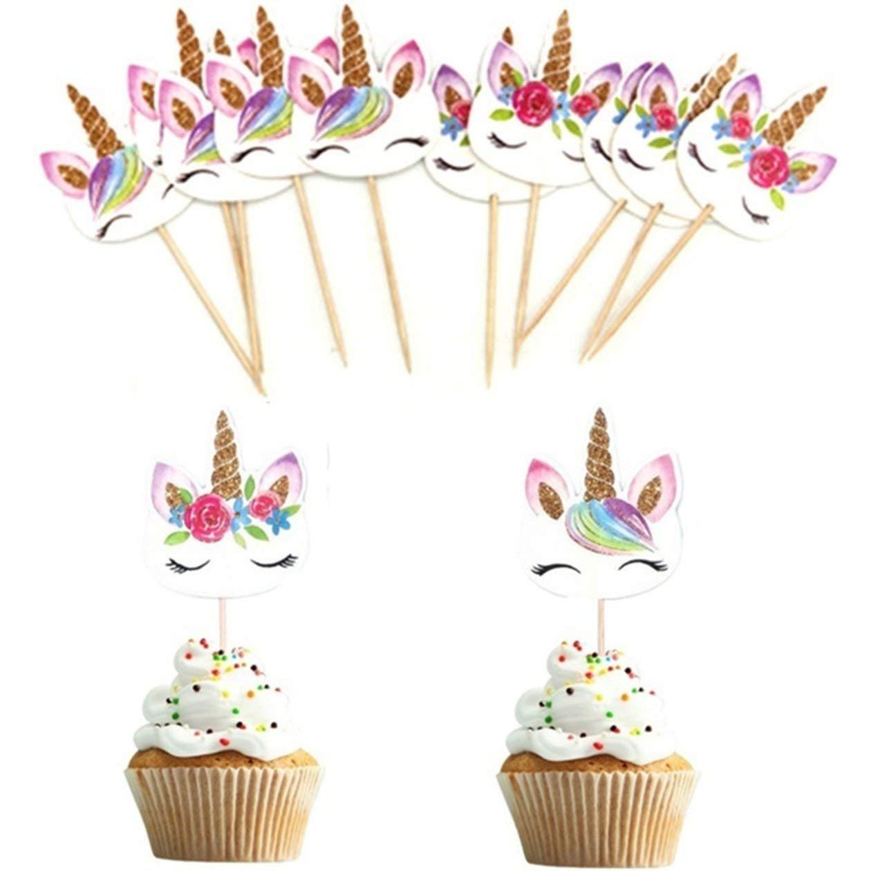 HONGIGI 24pcs Couleur: color/é Set Licorne Cartoon Cupcake Toppers G/âteau D/écoration Insert Carte Choisissez Mariage Enfants F/ête danniversaire D/écor Fournitures