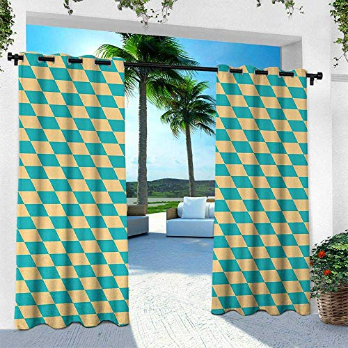 (Hengshu Geometric, Outdoor Curtain Waterproof Rustproof Grommet Drape,Art Deco Style Chess Table Dart Like Horizontal Vintage Image, W96 x L108 Inch, Turquoise and Light Yellow)