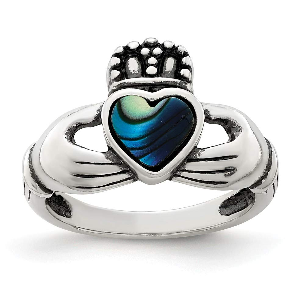 Sterling Silver Antiqued Abalone /& Enamel Claddagh Ring Multiple Sizes