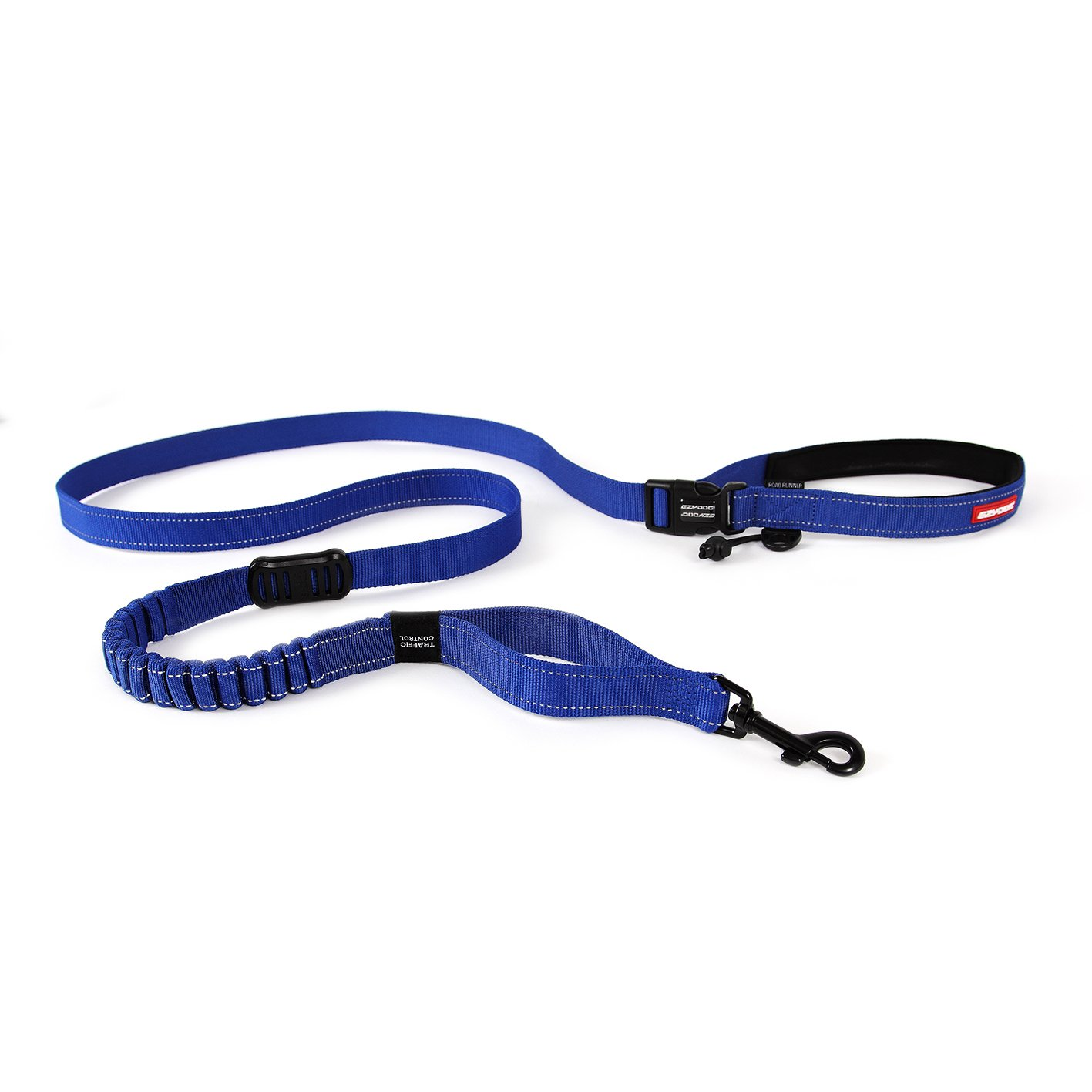 EzyDog Road Runner Best Hands Free Walking, Jogging, and Running Zero Shock Bungee Dog Leash - Reflective Stitching and Adjustable Waist Belt - Provides Superior Comfort, Safety, and Control (Blue)