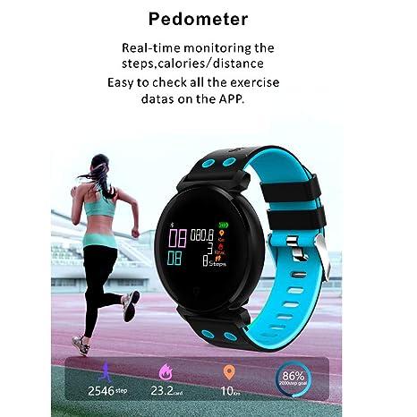JiaMeng Reloj Inteligente, K2 Color Pantalla del Ritmo cardíaco presión Arterial Deporte IP68 SmartWatch para iOS Android(Azul): Amazon.es: Ropa y ...