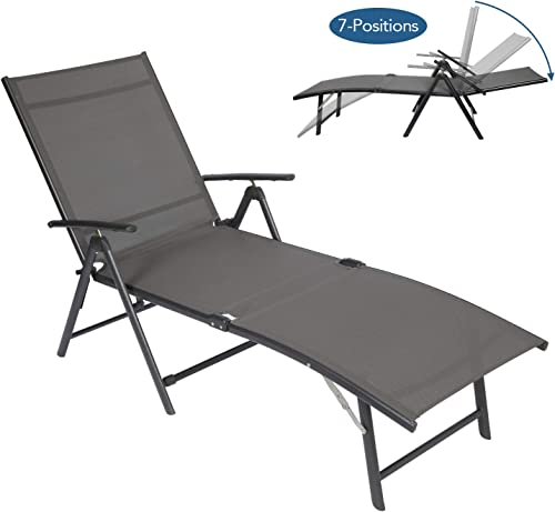 Circrane Outdoor Lounge Chair, Textiline Folding Chaise, Lounge Recliner for Beach Yard Pool Patio with 7-Positions Adjustable backrest Foldable Footrest Grey