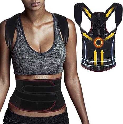 CAVN Adjustable Posture Corrector for Men Women, Back Support Belt Shoulder Lumbar Support Back Brace Back, Shoulder, Waist, Spinal and Neck Pain