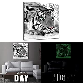 Kreative Arts   Glow In The Dark Luminous Canvas Wall Art Print White Tiger  Animal Painting