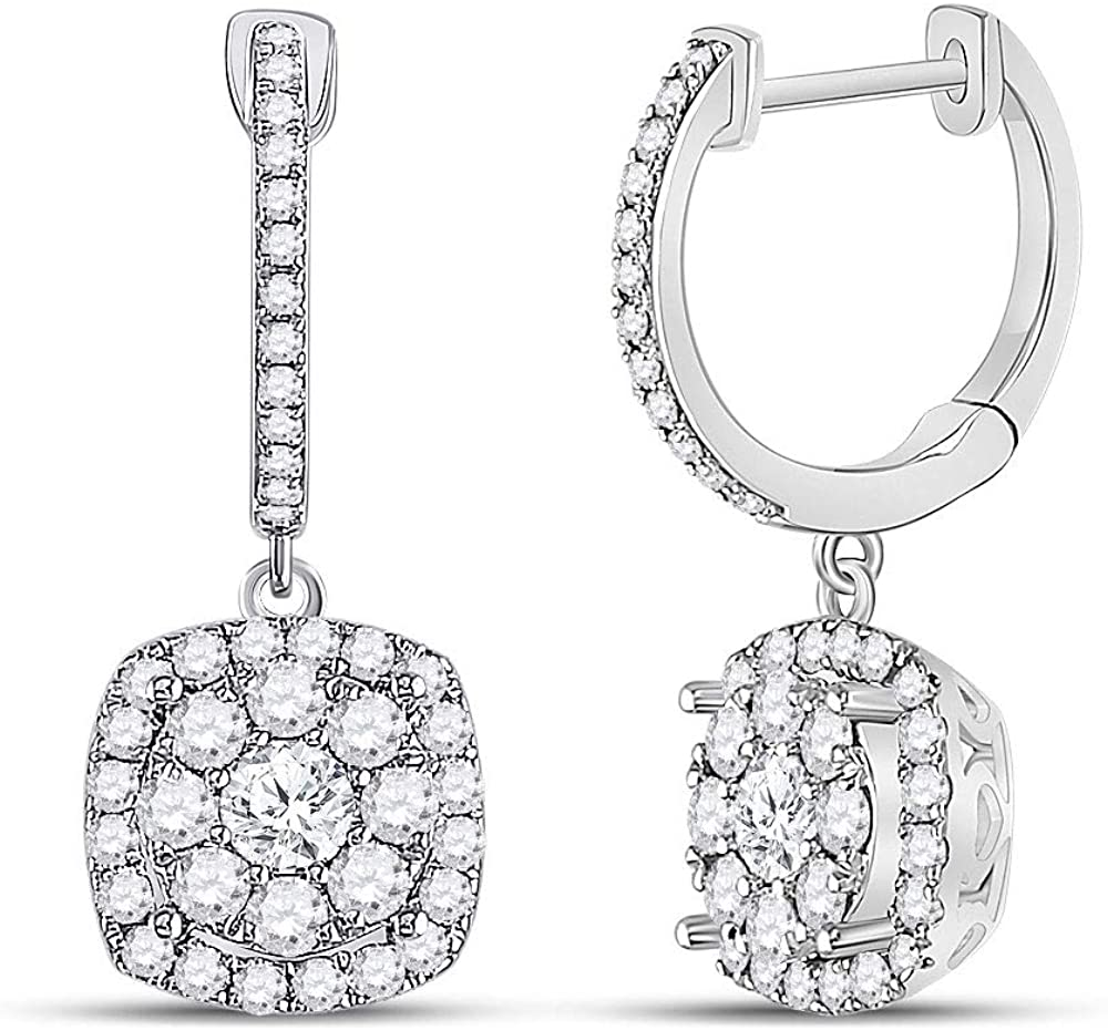 Diamond2Deal - Pendientes de aro de oro blanco de 14 quilates para mujer, diseño cuadrado, 1 cttw