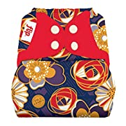 Flip Hybrid Reusable Cloth Diaper Cover with Adjustable Snaps and Stretchy Tabs - Fits Babies from 8 to 35+ pounds (Maggie)
