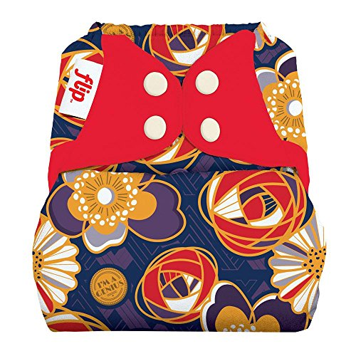 Flip Hybrid Reusable Cloth Diaper Cover with Adjustable Snaps and Stretchy Tabs...