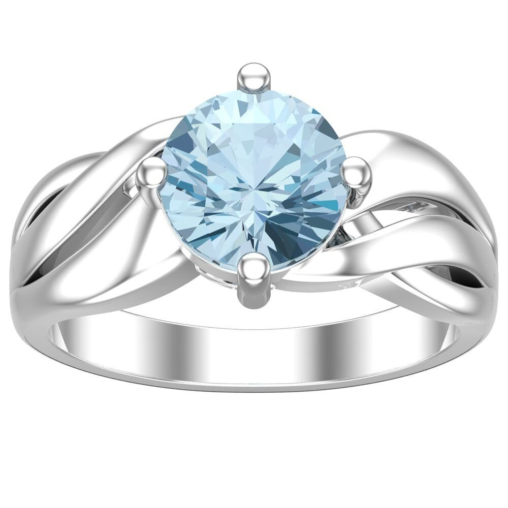 Belinda Jewelz Real Solid 925 Sterling Silver Twisted Band Round Sparkling Gemstone Prong Rhodium Plated Birthstone Engagement Wedding Classic Womens Fine Jewelry Ring Rings, Sky Blue Topaz, Size 8 by Belinda Jewelz (Image #3)