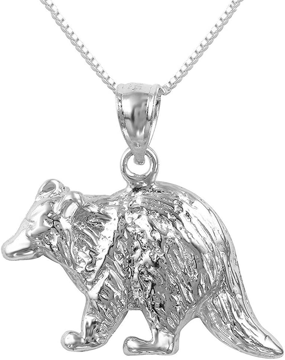 Made in USA Sterling Silver Raccoon Charm Pendant 18 Italian Box Chain