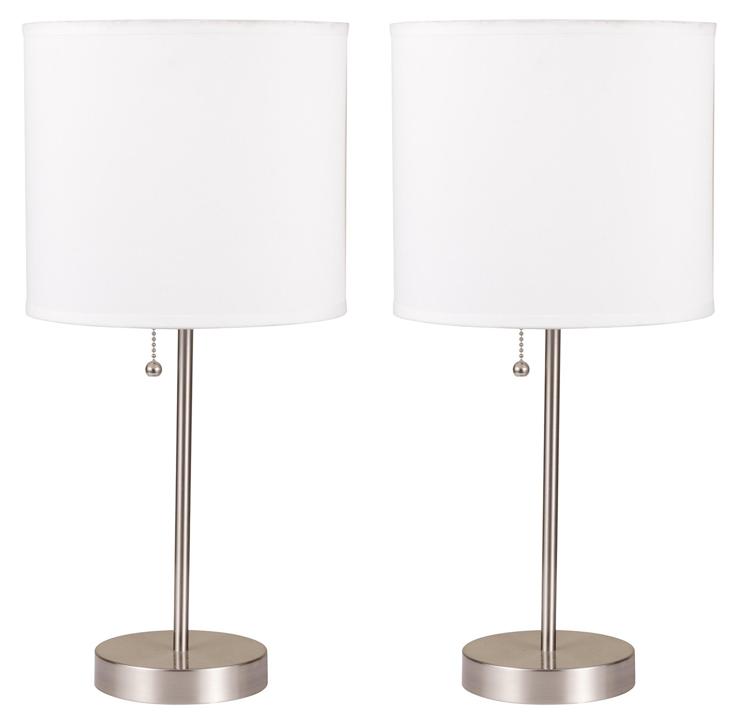 Milton Greens Stars A8312DT-S Ruslana Contemporary Table Lamp Plain White, 18.5-Inch, Set of 2