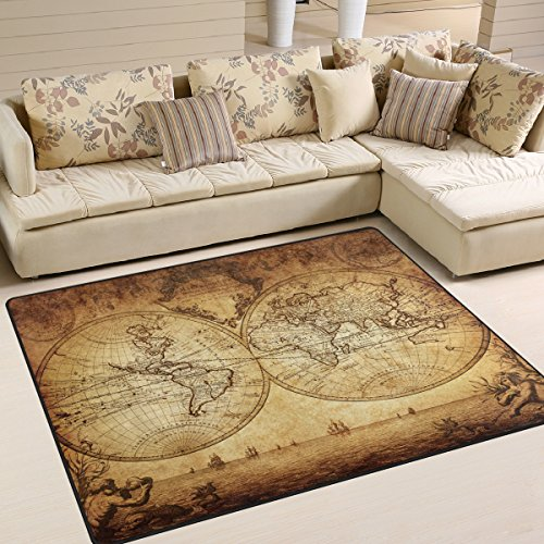 ALAZA Antique Old World Map Art Area Rug for Living Room Bedroom 5'3 x 4' by ALAZA