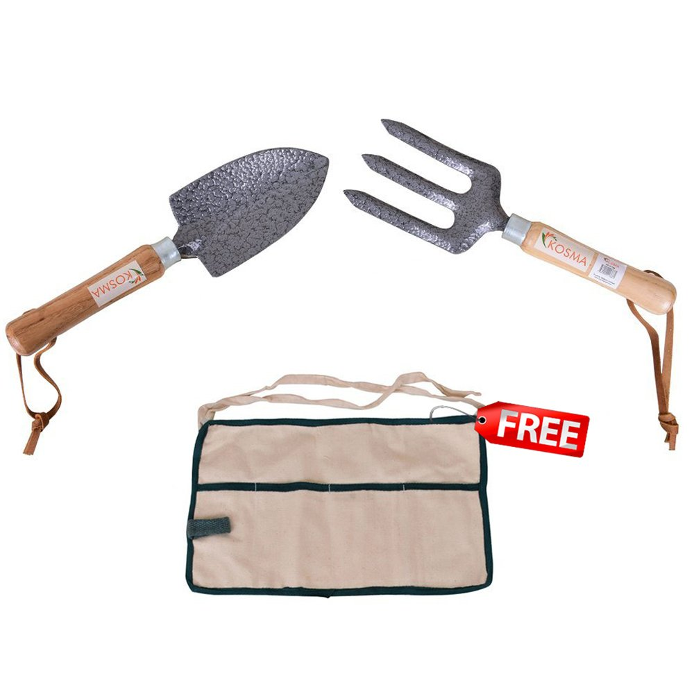 Kosma 2 Pc Garden Tool Set with Ash Wood Handle | Hand Trowel | Hand Fork | FREE 4 Pocket Garden Apron Montstar Global