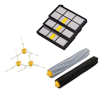 Amoy Kit de cepillos de filtros para iRobot Roomba series 800 y 900 980 966 960