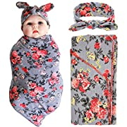 Newborn Baby Swaddle Blanket and Headband Value Set,Receiving Blankets, Gray Flower