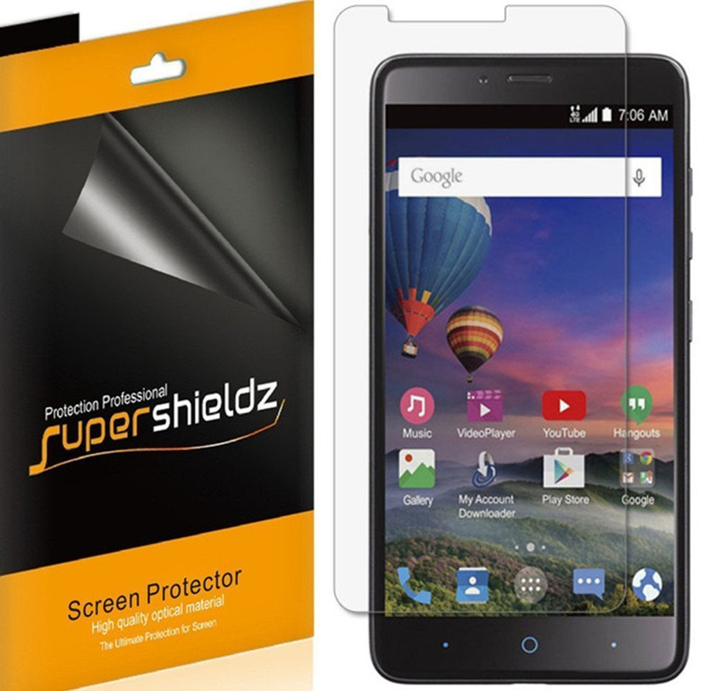 [6-Pack] Supershieldz Anti-Bubble Clear Screen Protector for ZTE MAX DUO LTE (Z962BL) -Lifetime Replacements Warranty - Retail Packaging