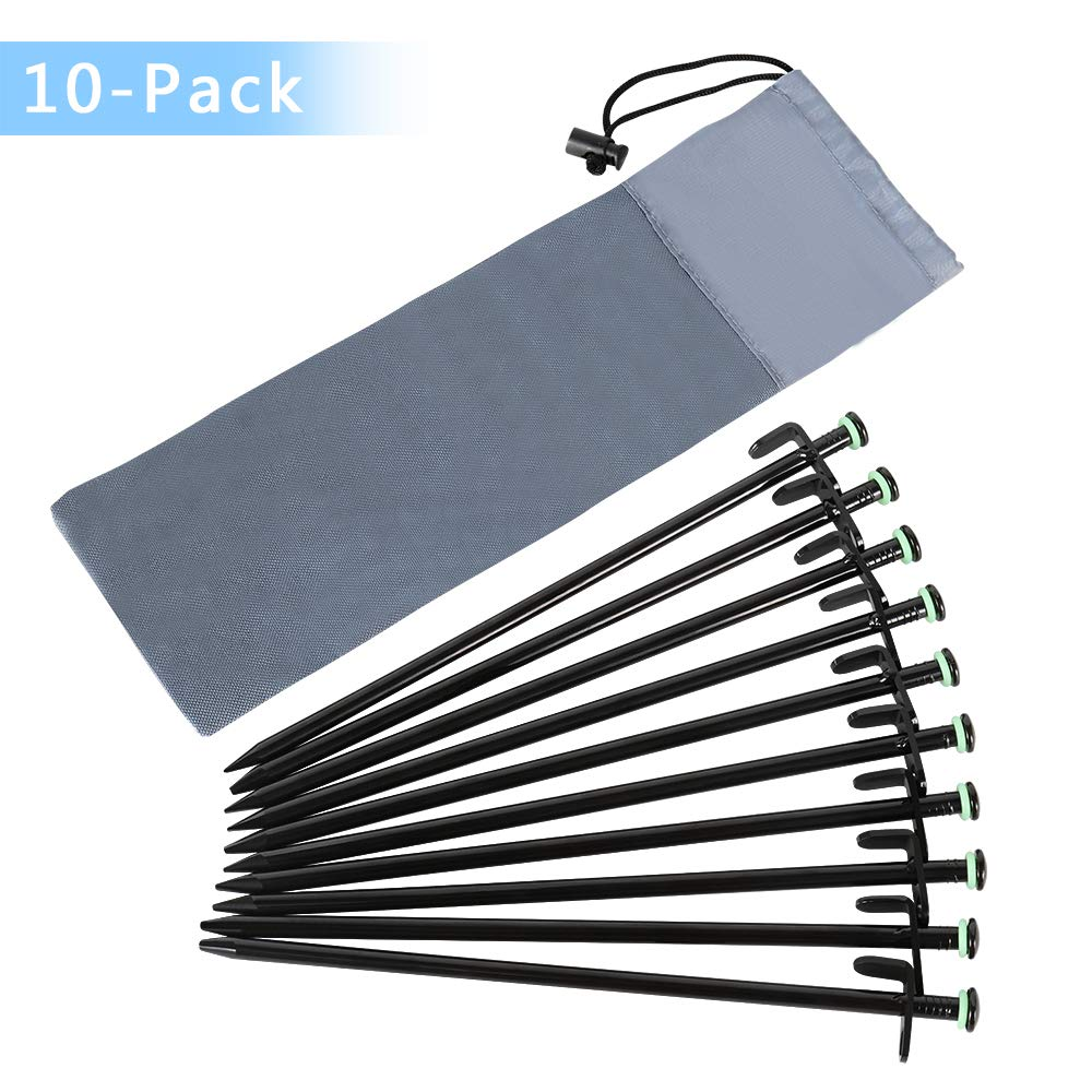 HAITRAL Heavy Duty Tent Stakes 12 Inches - Black Metal Tent Pegs, Canopy Tent Nails Spikes Set of 10 with Carrying Bag, Fluorescent Ring, Unbreakable&Durable for Backpacking Camping Climbing Hiking by HAITRAL