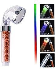 LED Acachofa Ducha Alta Presiòn VEYETTE, Cabeza de Ducha de Mano con 3 Cambio de color, 30% Ahorro de Agua para Baños
