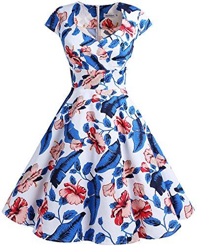 (Bbonlinedress Women Short 1950s Retro Vintage Cocktail Party Swing Dresses RoyalBlue Flower 3XL)