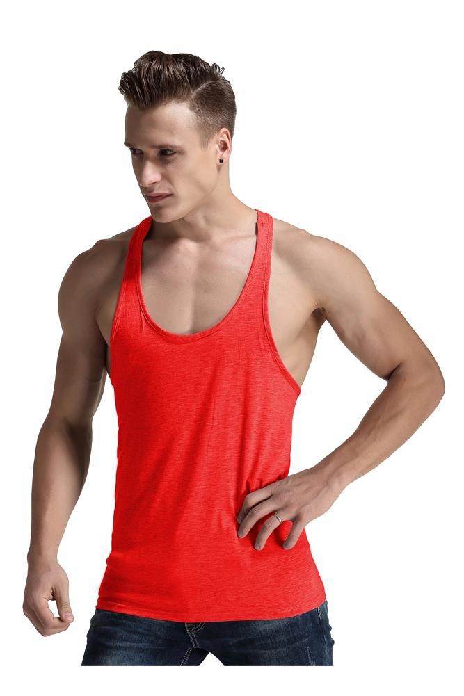 Men Fashion Blank Stringer Y Back Cotton Gym Sleeveless Shirts Tank t, (Red, S)
