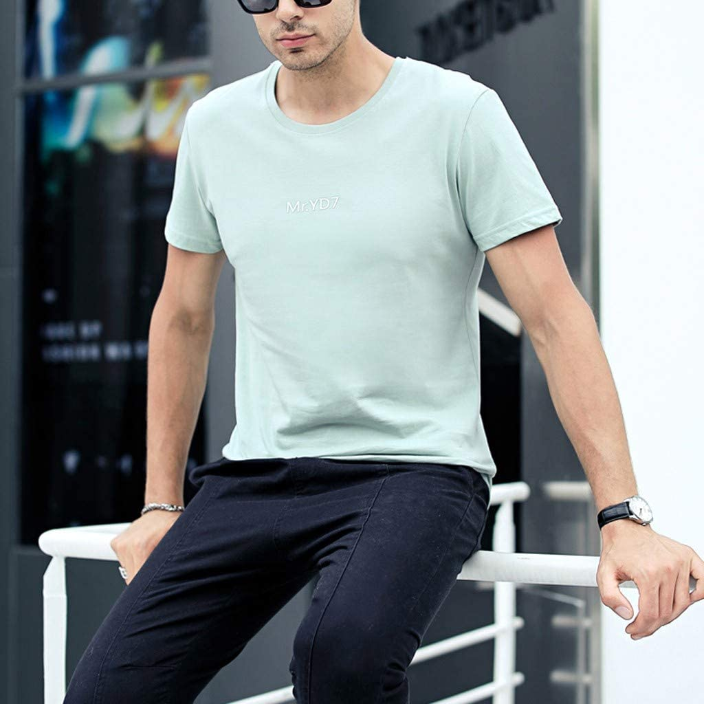 LUCAMORE Mens Summer Solid Round Neck T-Shirts Short Sleeve Casual T-Shirt Blouse Tops