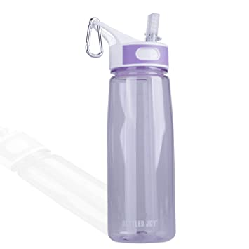 BOTTLED JOY Water Bottle, Reusable Sports Water Bottle with Straw and Handle BPA-Free Leak Proof Drinking Bottle for Travel Outdoor Hiking Camping, 28 oz 800ml