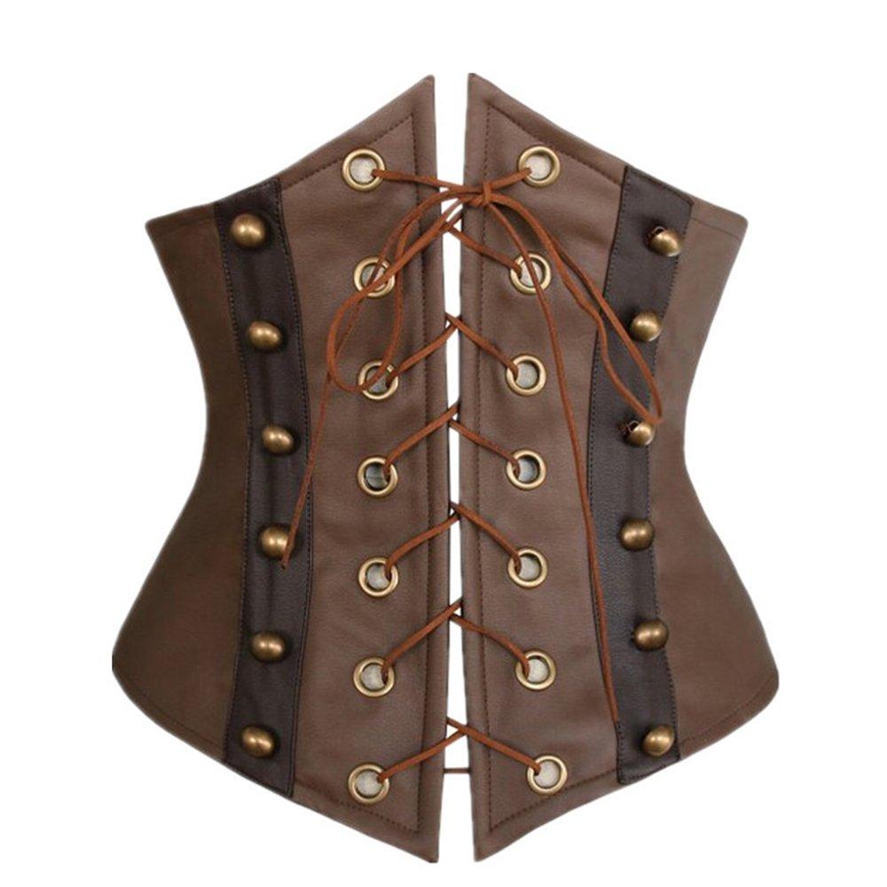 Little Hunter Women's Faux Leather Corset Lace-up Front Bustier Underbust Corset Belt