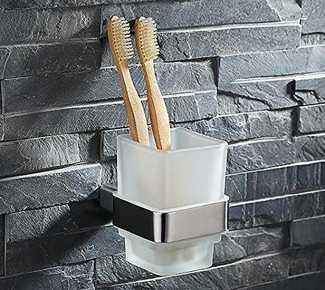 evebh cuadrado único vaso para cepillos de dientes, acero inoxidable cepillado # evebh03: Amazon.es: Hogar