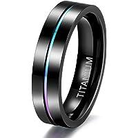 خاتم زفاف 5 ملم و7 ملم مصنوع من التيتانيوم مع ثلم رفيع ملون بالوان الطيف مناسب للزوجين مقاس 3.5-14 من تايجريد