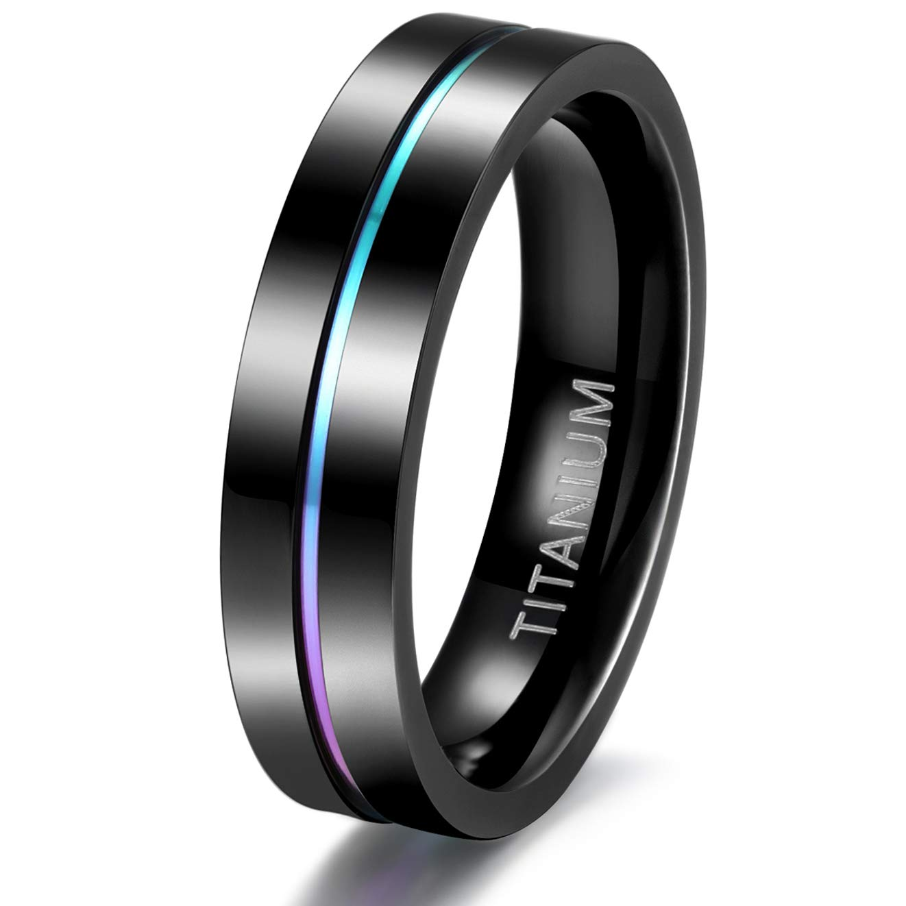 TIGRADE 5mm 7mm Rainbow Titanium Ring Colorful Thin Groove Wedding Band Couple Rings Size 3.5-14