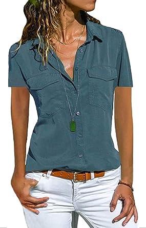 Tomwell Mujer Blusas Gasa Cuello En V Camiseta Tops Loose Camisa Elegante Bolsillo En El Pecho Top De Manga Corta De Color Sólido Blusa con Botones De Moda Casual Túnica: Amazon.es: Ropa