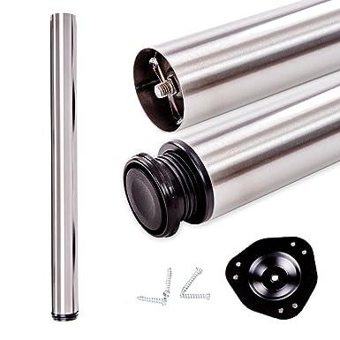4er Set von Tischbeinen /Ø60x830mm in Stahl Aluminiumfarbe lackiert