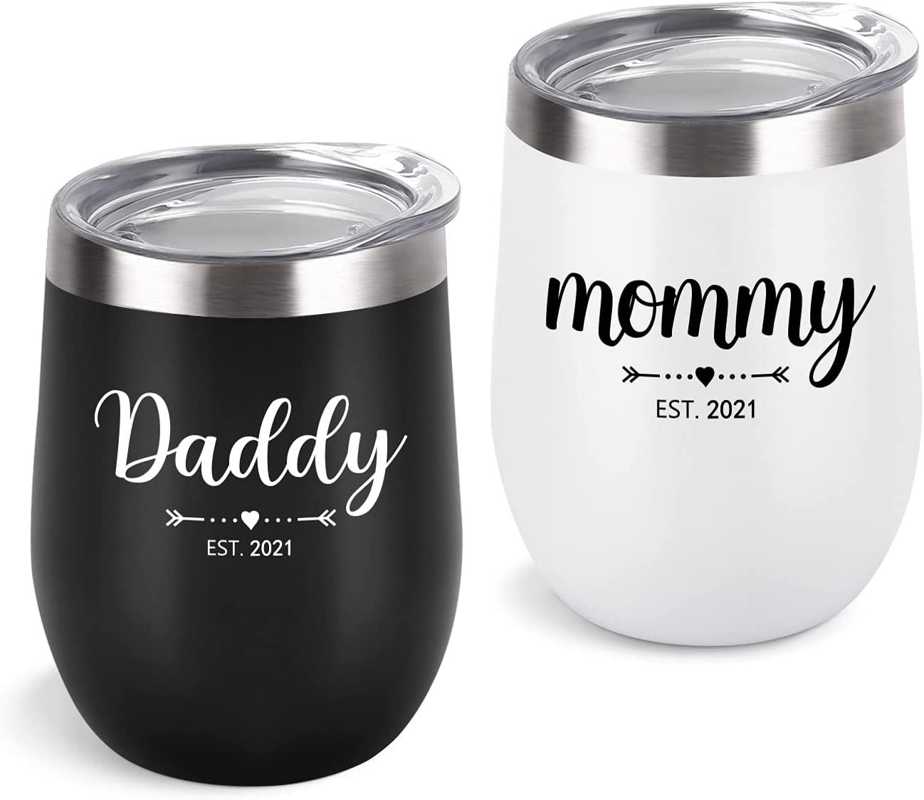 New Parents Tumbler Set, Daddy Mommy Est 2021 Stainless Steel Wine Tumbler with Lid, Dad Mom Gift for Mother's Day Father's Day Birthday New Pregnancy Baby Shower Christmas (12Oz, Black and White)