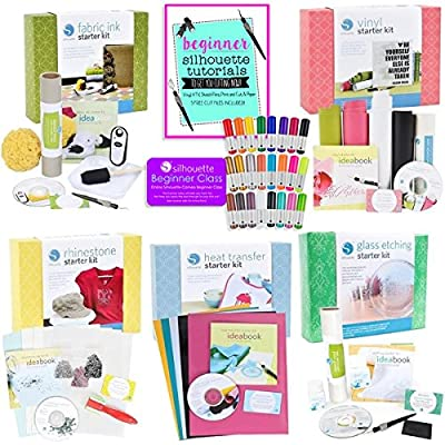 Silhouette CAMEO Starter Kit Bundle with 5 Kits, 24 Sketch Pens, and Project Guide