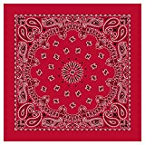 100% Cotton Western Paisley Bandanas (22' x 22') Made in USA - Red Single Piece 22x22 - Use For Handkerchief, Headband, Cowboy Party, Wristband, Head Scarf - Double Sided Print