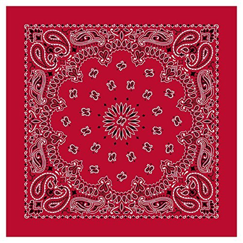 "Paisley Bandanas (22"" x 22"") Made in USA - Red Single Piece 22x22 - Use For Handkerchief, Headband, Cowboy Party, Wristband, Head Scarf - Double Sided Print ()"
