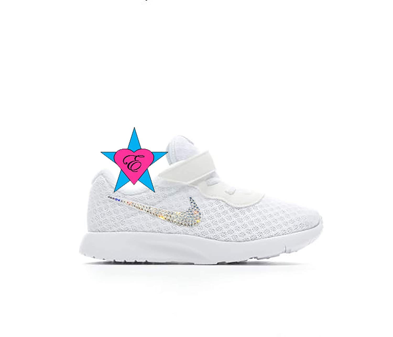 d75dba8a44 Amazon.com: Rhinestone Crystal Bedazzled White Girls' Nike Infant Tanjun  Sneakers: Handmade