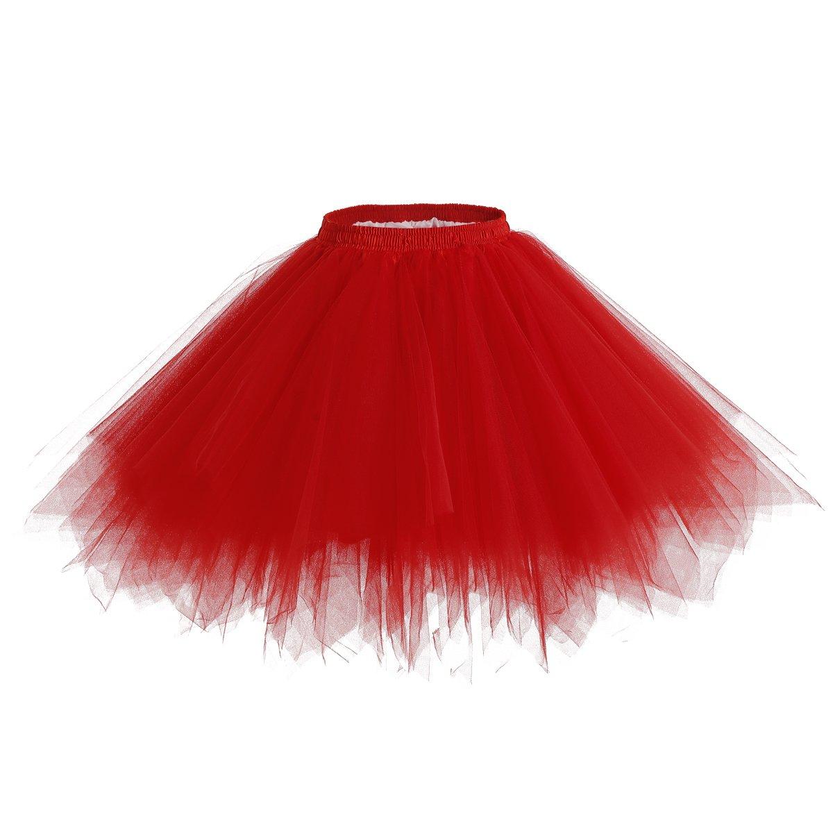 Bridesmay Women's Short Party Tutu Ballet Bubble Skirt Retro Petticoat Skirt
