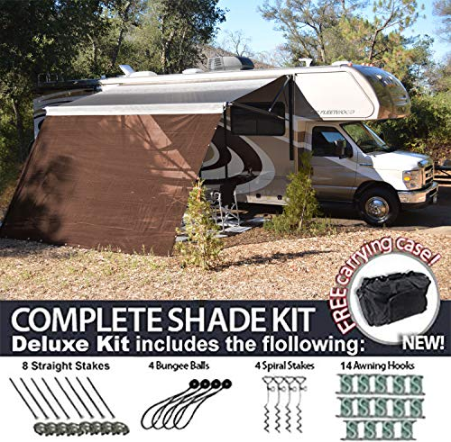 RV Awning Shade Motorhome Patio Sun Screen Complete Deluxe Kit Brown 8×16