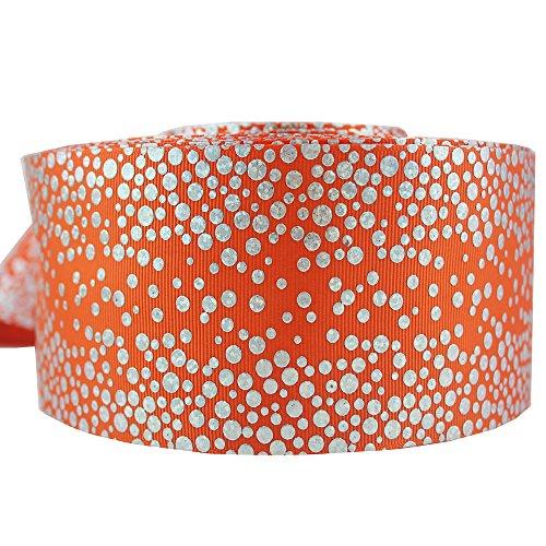 75MM Printed Polka Dots Grosgrain Fabric Riboon Foil Hologram Ribbons 10 Yards (Hologram Ribbon)
