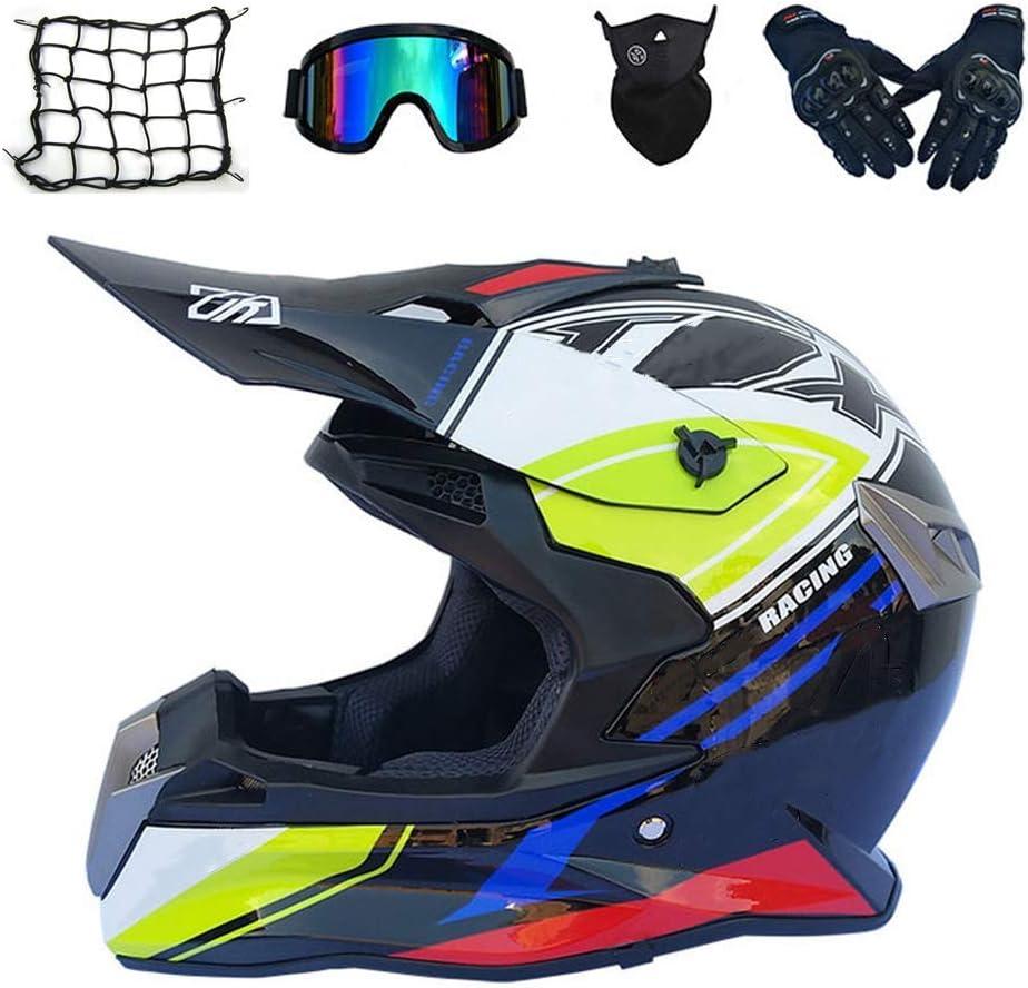 大人オフロードヘルメット、バイクモトクロスヘルメットフルフェイスMTBヘルメットセット(5個、ゴーグルグローブマスクヘルメットネット)男性用女性用クロスバイククラッシュヘルメット,XXL