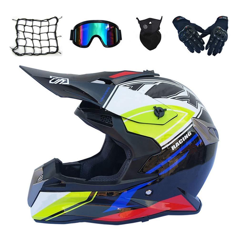 大人オフロードヘルメット、バイクモトクロスヘルメットフルフェイスMTBヘルメットセット(5個、ゴーグルグローブマスクヘルメットネット)男性用女性用クロスバイククラッシュヘルメット,S